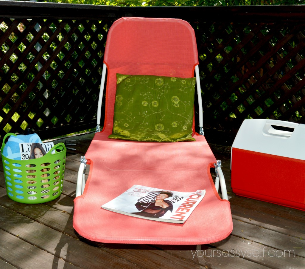 Green Bin, Magazines, Green Pillow, Red Chaise Lounge, Red Cooler-yoursassyself.com