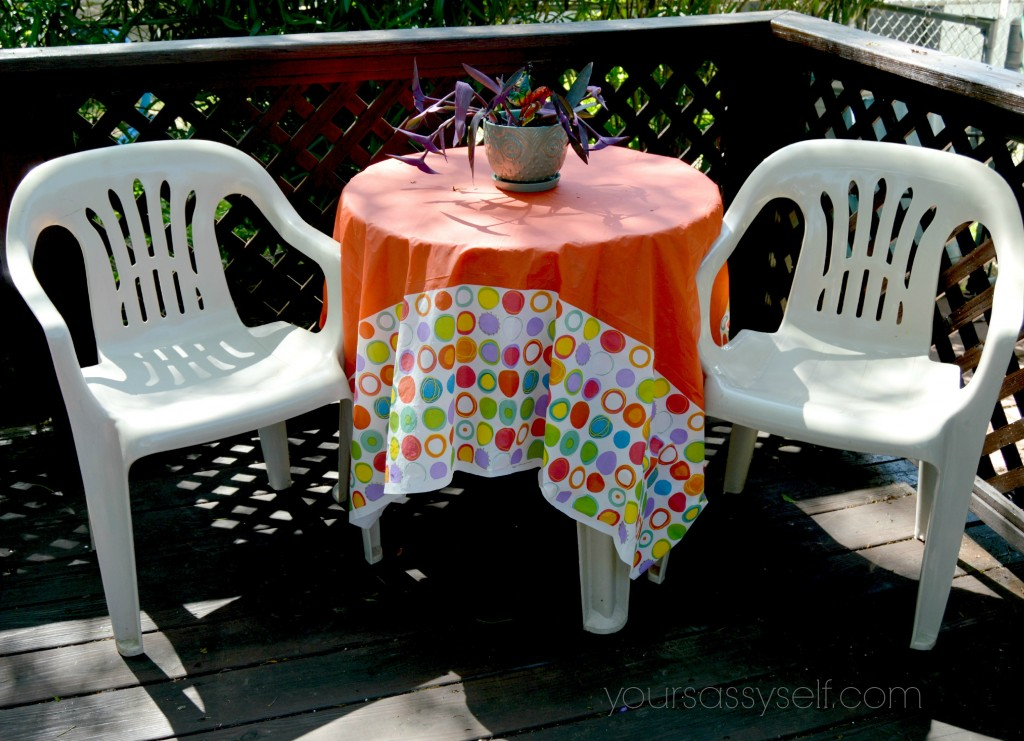 Plastic Patio Chairs n Table With Red Colorful Cover n Owl Planter-yoursassyself.com