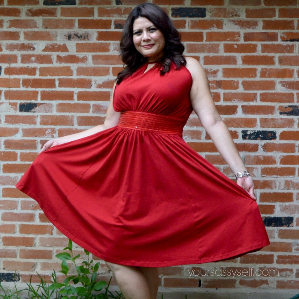 Rocking eShakti Red Flirty Dress - yoursassyself.com