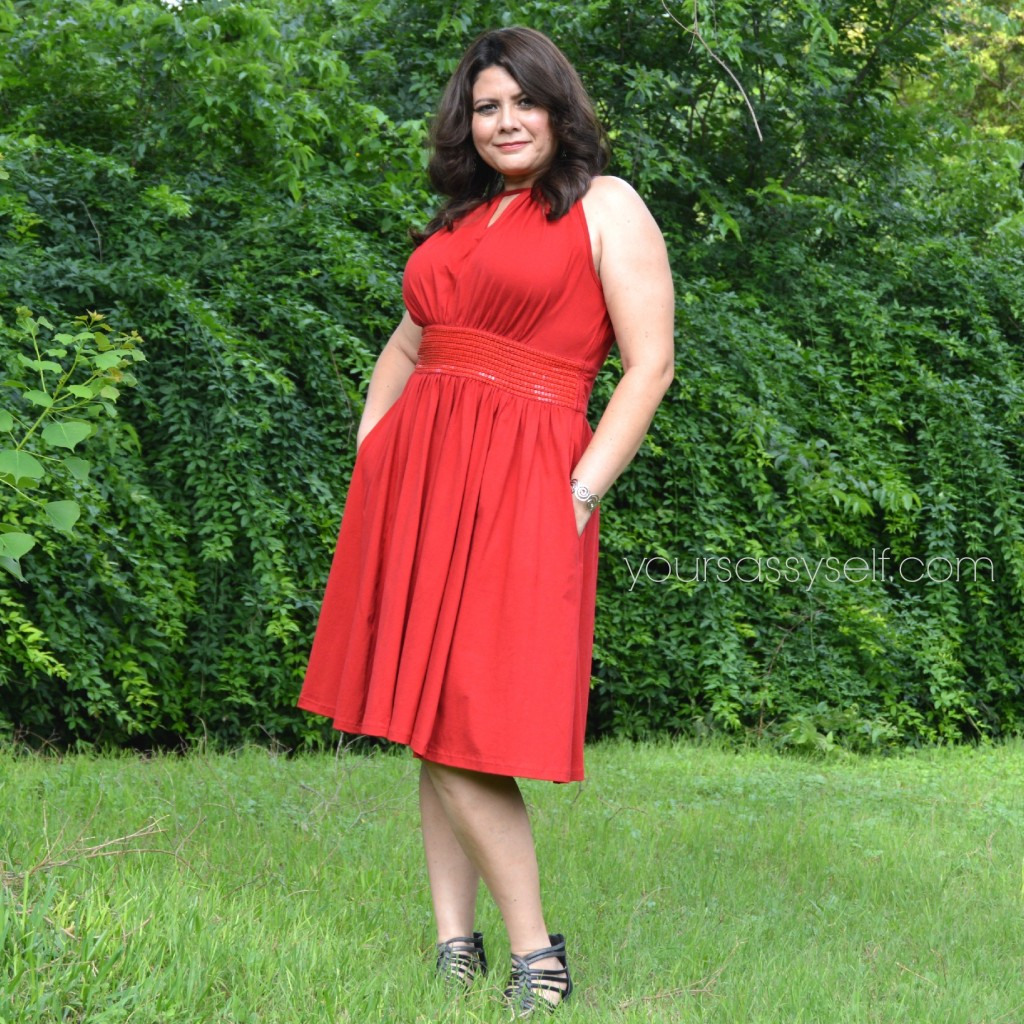 Stylish Red eShakti dress - yoursassyself.com