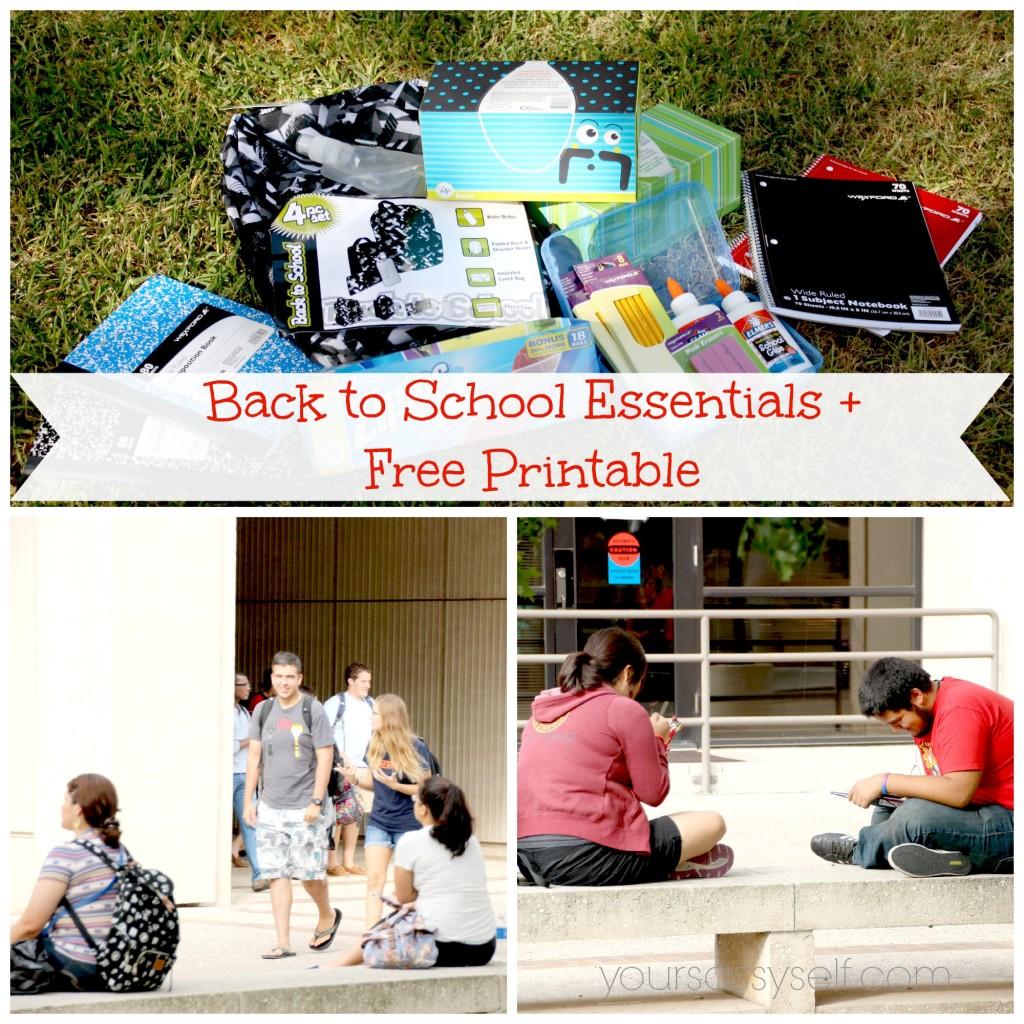 Back to School Essentials + Free Printable - yoursassyself.com