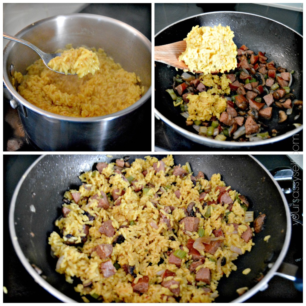 Adding yellow rice to sausage mix - yoursassyself.com