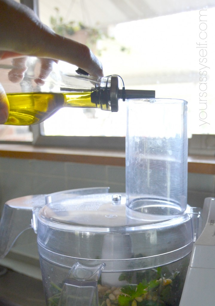 Adding Olive Oil to Pesto in Processor - yoursassyself.com
