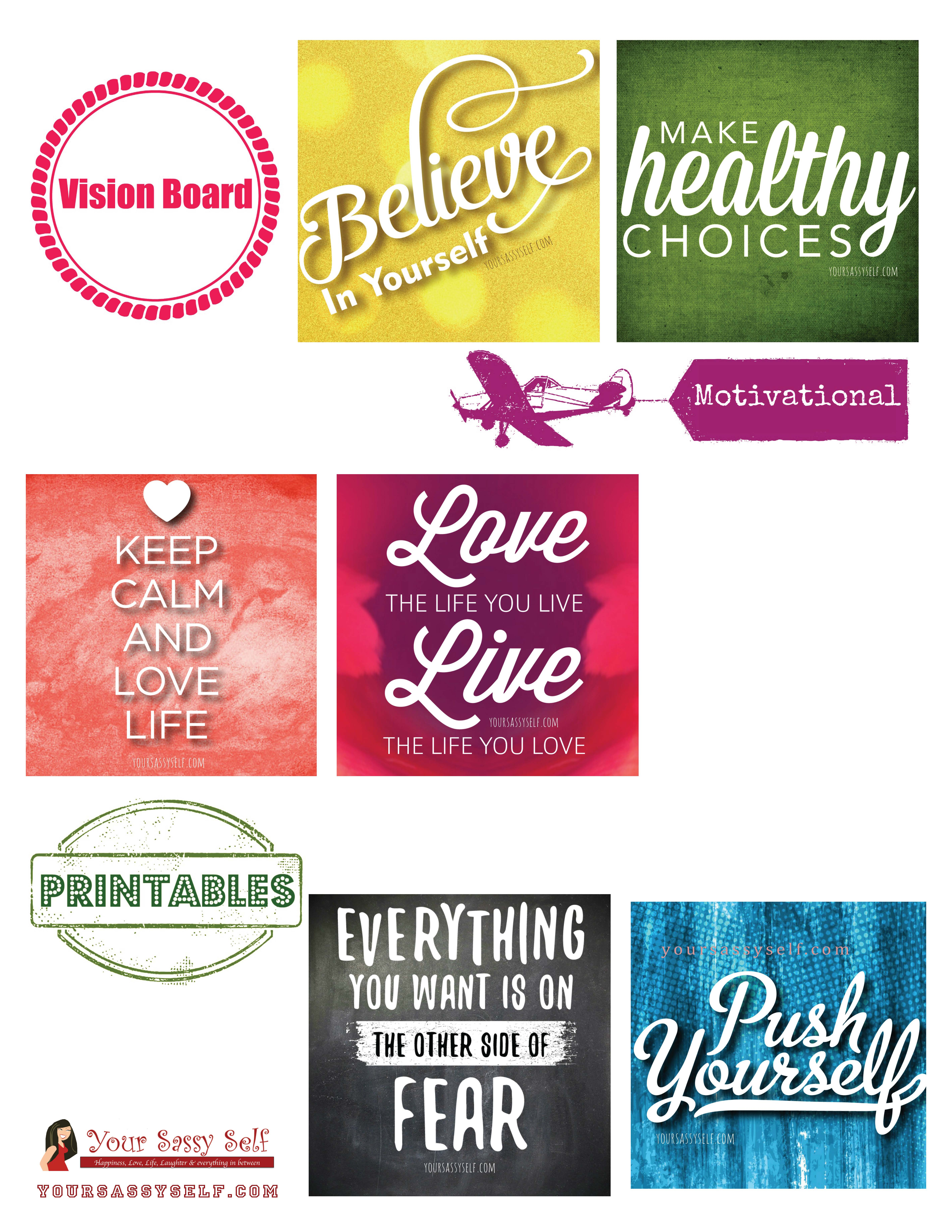 vision board templates free - vision board motivational printables yoursassyself