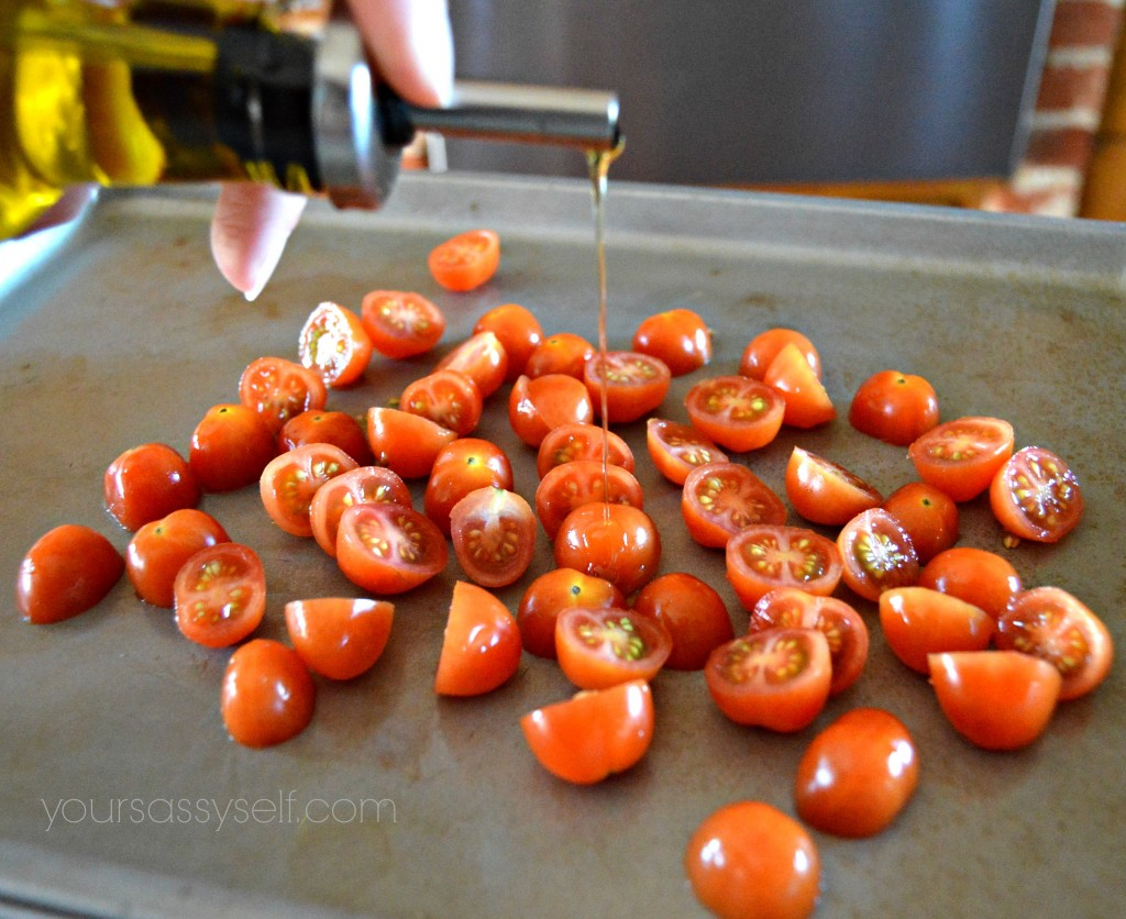 Adding Olive Oil to Grape Tomatoes - yoursassyself.com