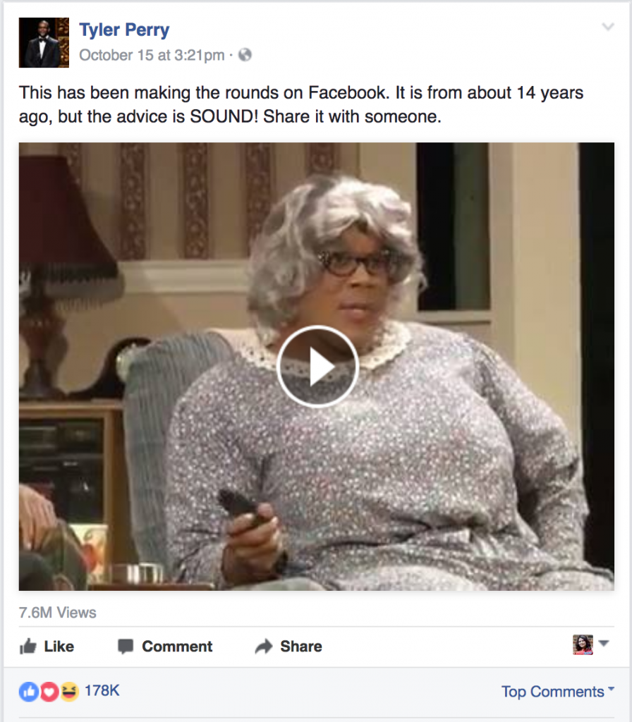 Tyler Perry (as Madea) comparing relationships to trees