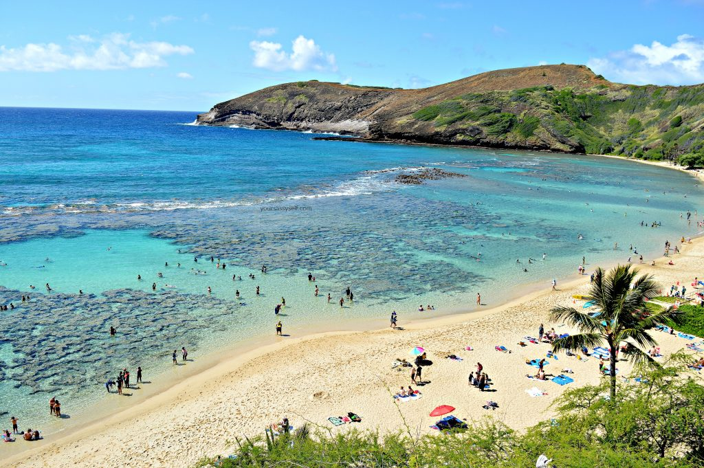 Hillside view of Hanauma Bay - yoursassyself.com