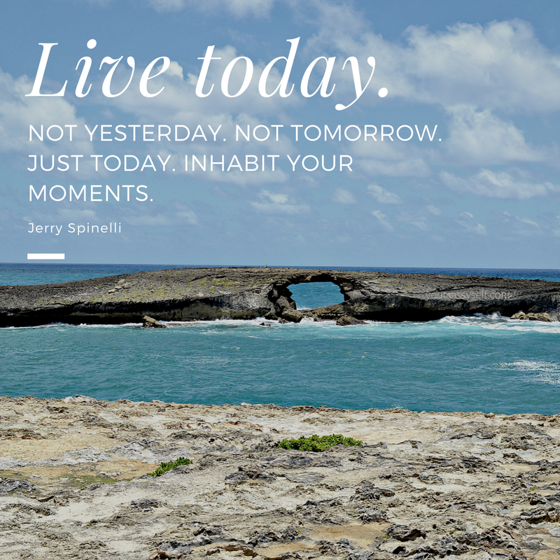 Live today. Not yesterday. Not tomorrow. Just today. Inhabit your moments. – Jerry Spinelli - yoursassyself.com