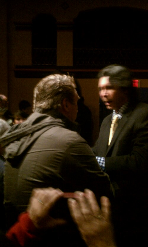Bonus pic of a side view of Daniel Baldwin and Lou Diamond Phillips sharing a moment after the Q & A