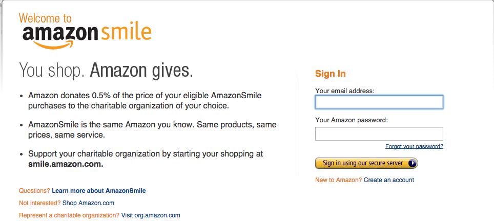 Amazon Smile Screen Shot-yoursassyself.com
