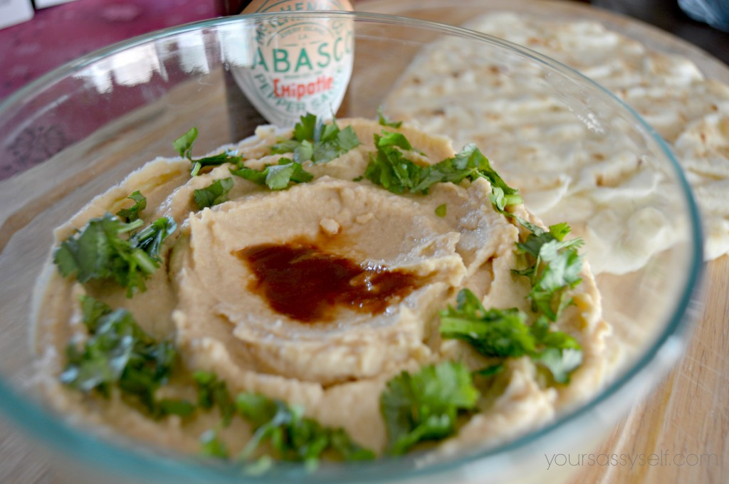 Tabasco Chipotle Hummus and Naan Bread-yoursassyself.com