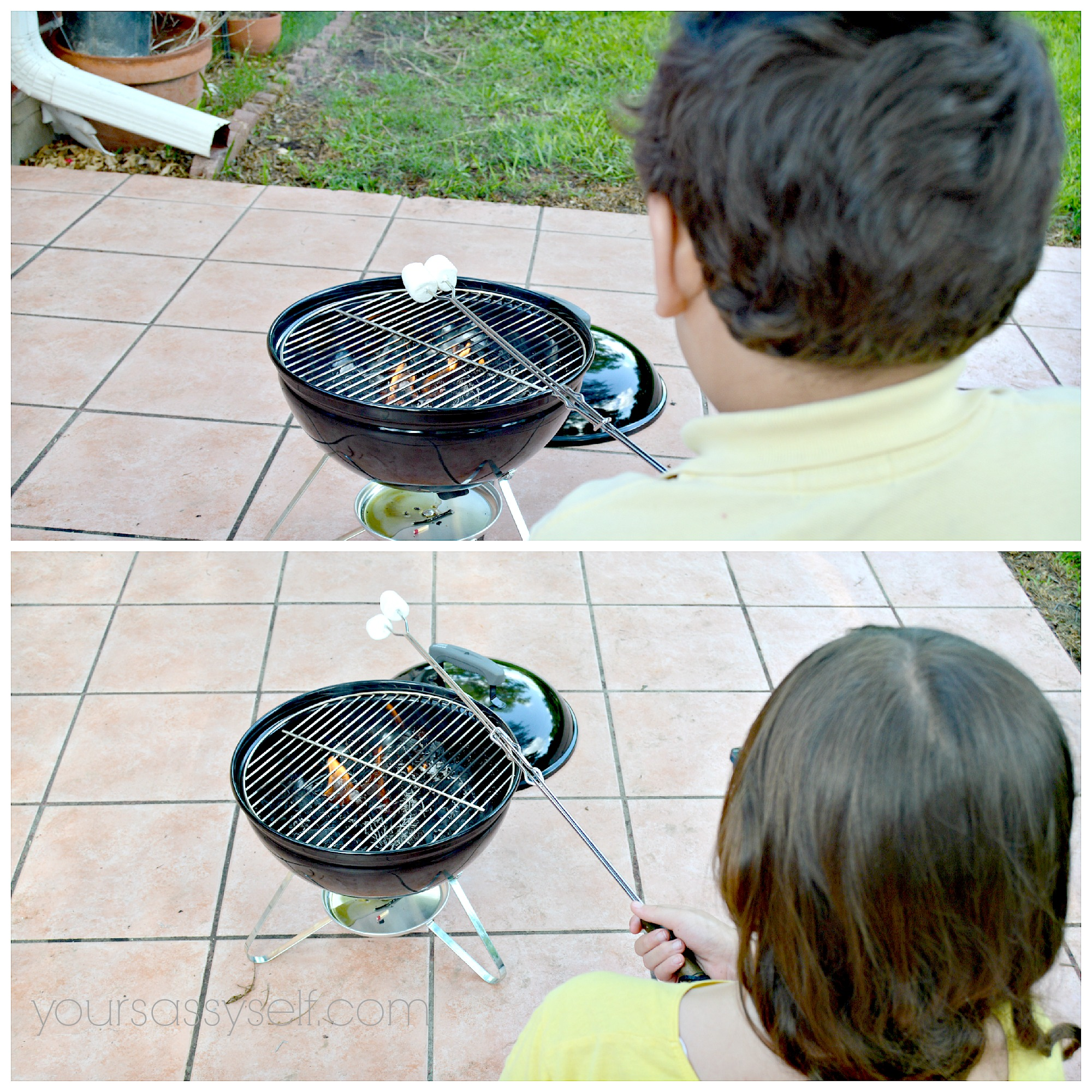 Kids Safely Roasting Marshmallows With Extension Fork - yoursassyself.com
