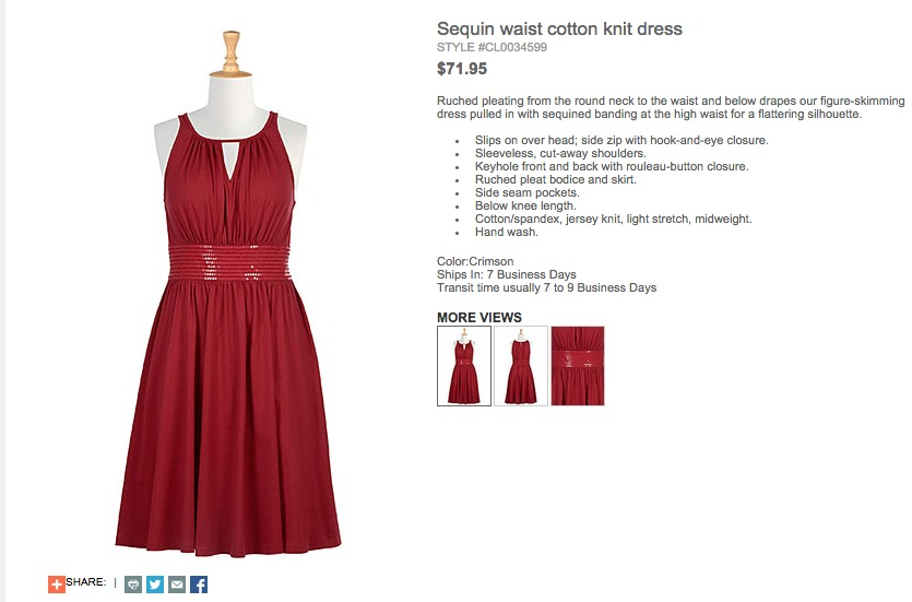 eShakti screen shot of red sequin waist cotton knit dress - yoursassyself.com