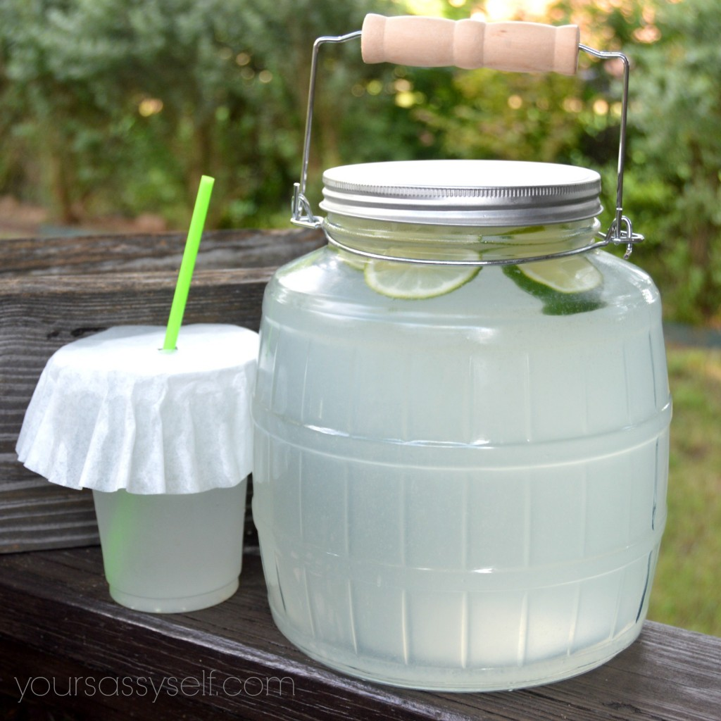 Glass barrel jar with wood carrying handle - yoursassyself.com