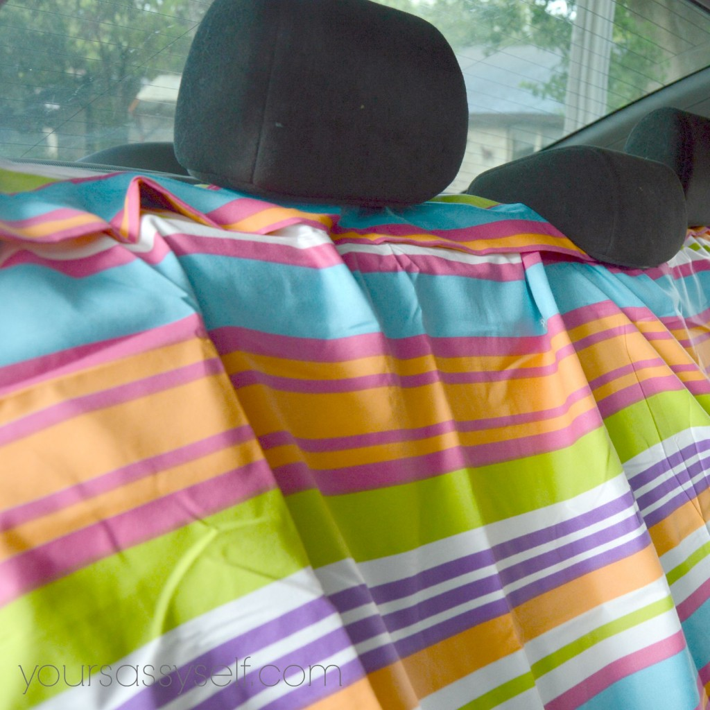 Fabric Placement for No Sew Backseat Cover - yoursassyself.com
