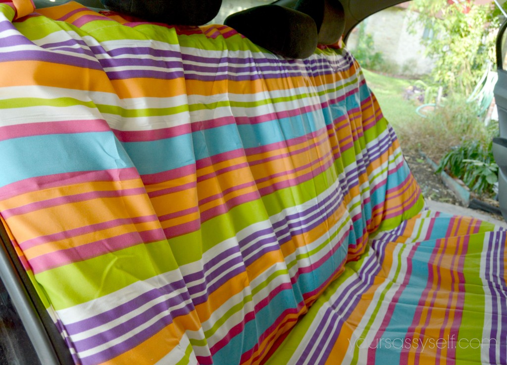 Fabric Placement to Cut Slits for Seat Belts on Backseat Cover - yoursassyself.com