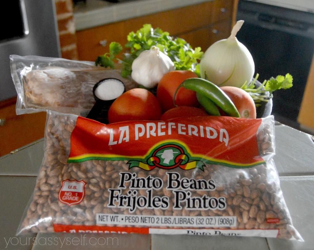 Ingredients for Pico De Gallo y Frijoles Charros - yoursassyself.com