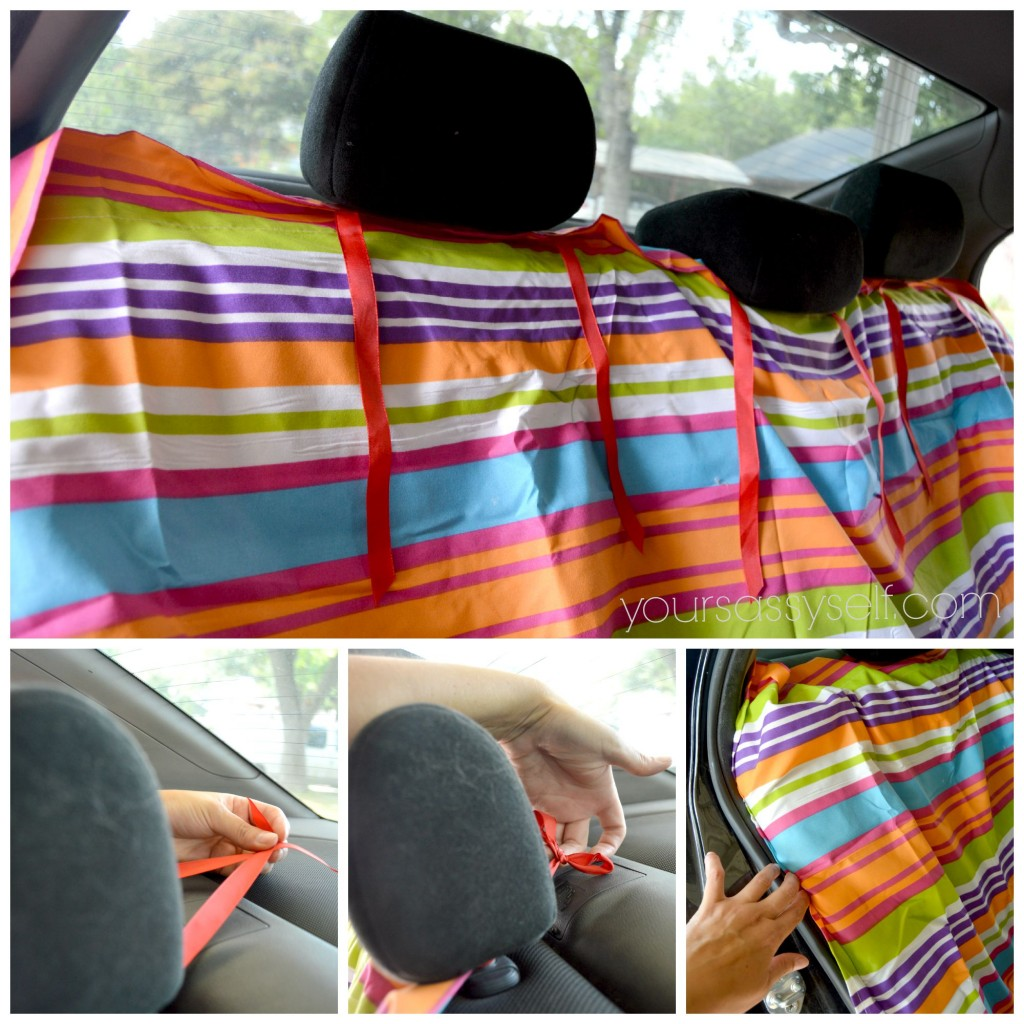 Tieing No Sew Backseat Cover to Headrests - yoursassyself.com
