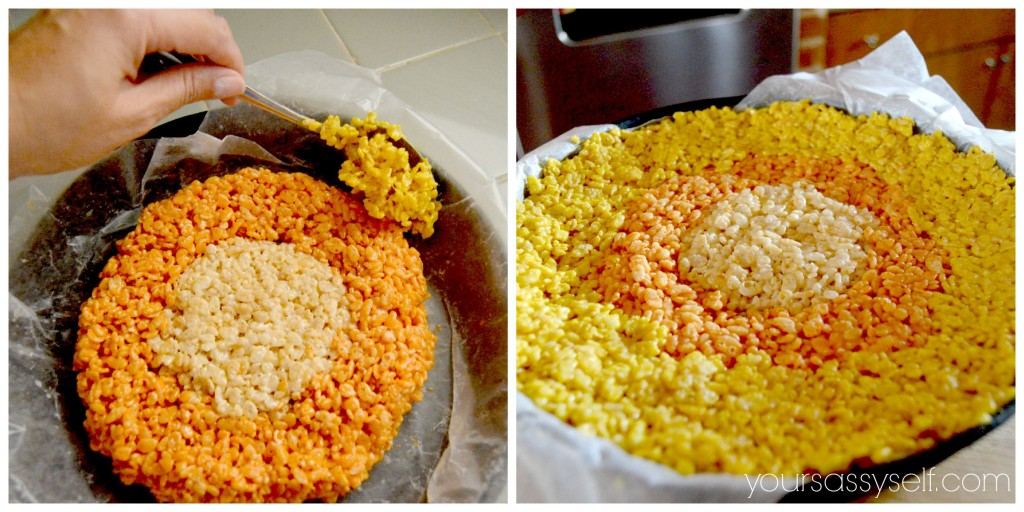 Adding Yellow Layer to Candy Corn Rice Krispie - yoursassyself.com