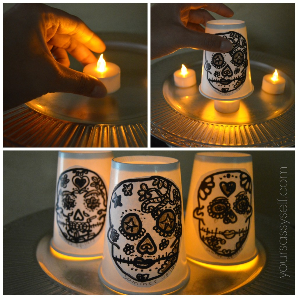 Lighting the Dia de los Muertos Lantern - yoursassyself.com