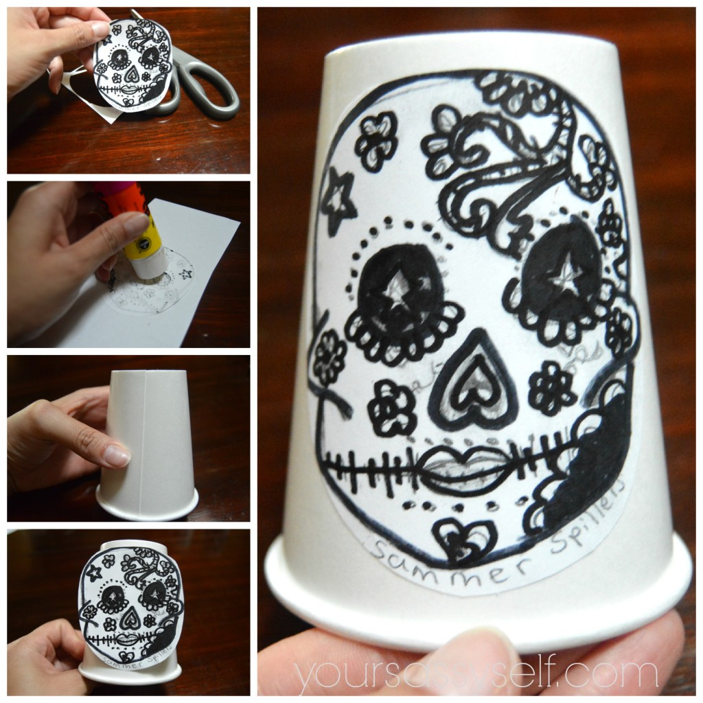 Pasting Calavera onto Paper Cup - yoursassyself.com