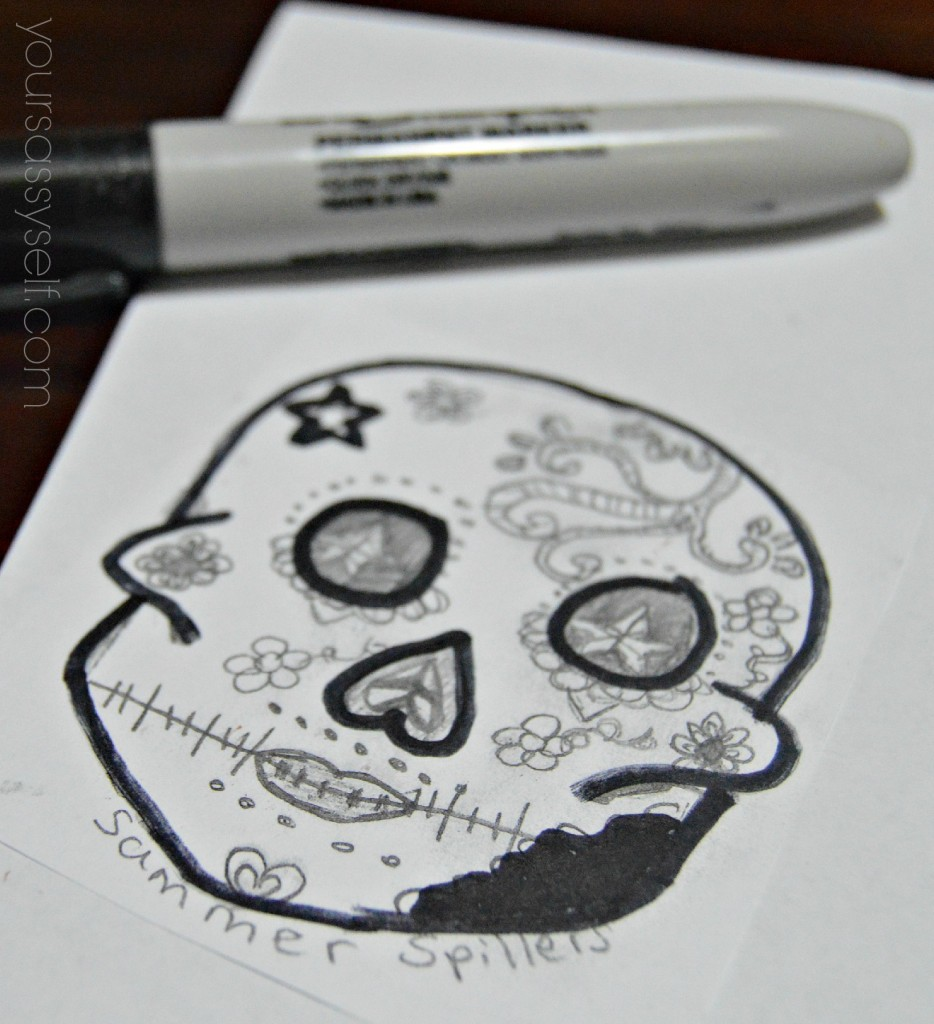 Thick Marker outline of Calavera - yoursassyself.com