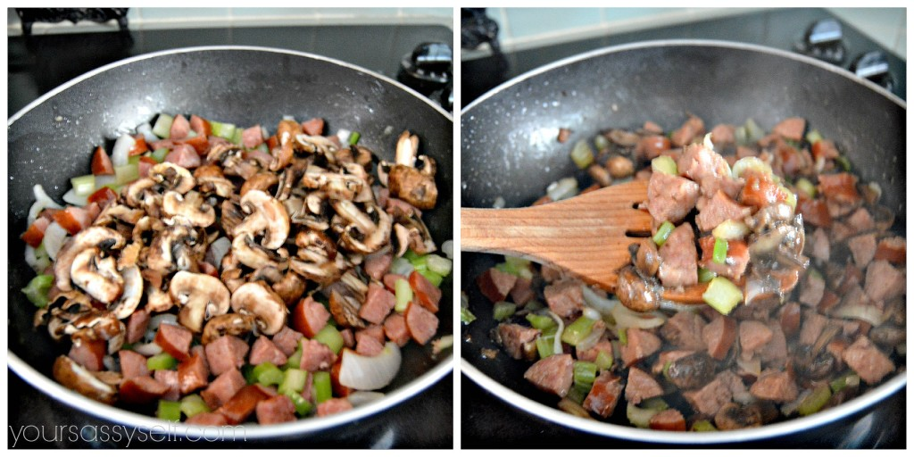 Cooking mushrooms, celery, onions and sausage - yoursassyself.com