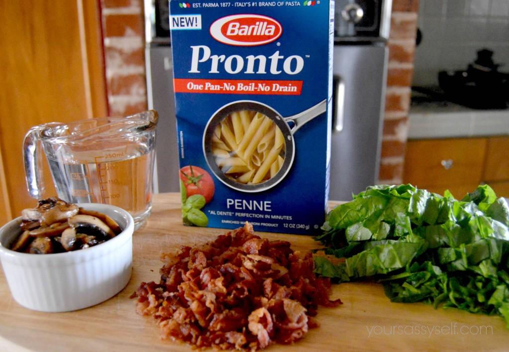 Ingredients for Bacon Mushroom Pesto Pasta - yoursassyself.com