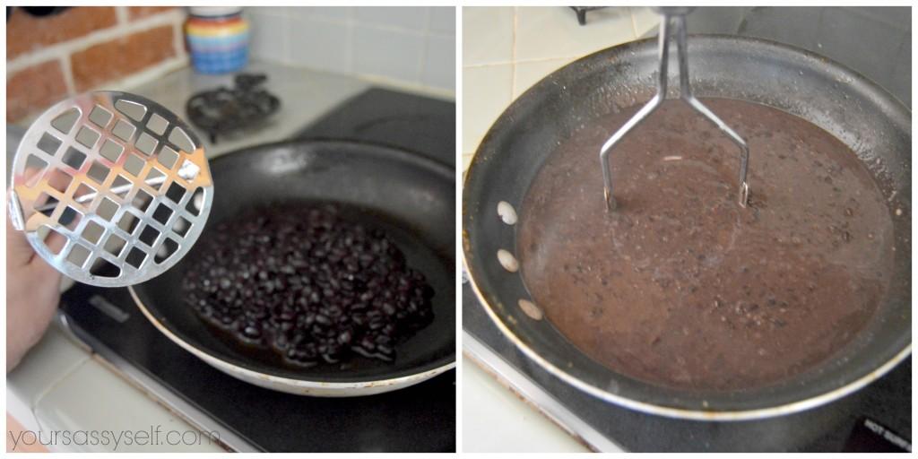 Mashing up black beans - yoursassyself.com