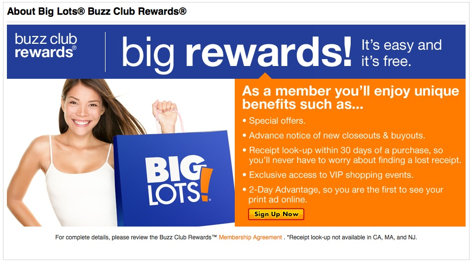 Big Lots Buzz Club Rewards Screen Shot