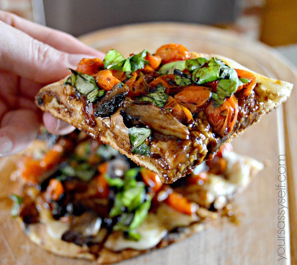 Slice of Margherita Flatbread Pizza with Balsamic Reduction - yoursassyself.com