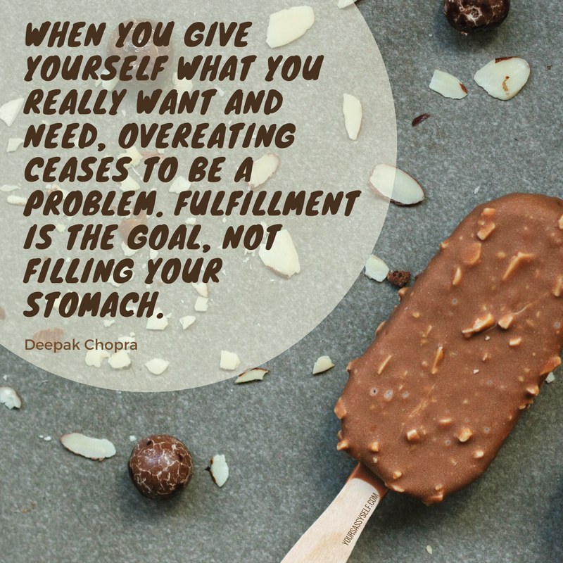 Fulfillment is the goal, not filling your stomach - Deepak Chopra - yoursassyself.com