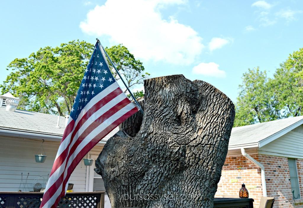 Tree Stump with American Flag - yoursassyself.com