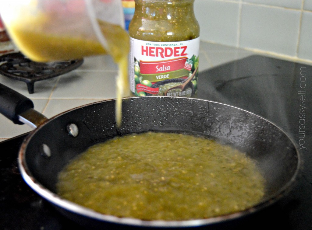 Warming Herdez Salsa Verde for Chicken Enchiladas - yoursassyself.com