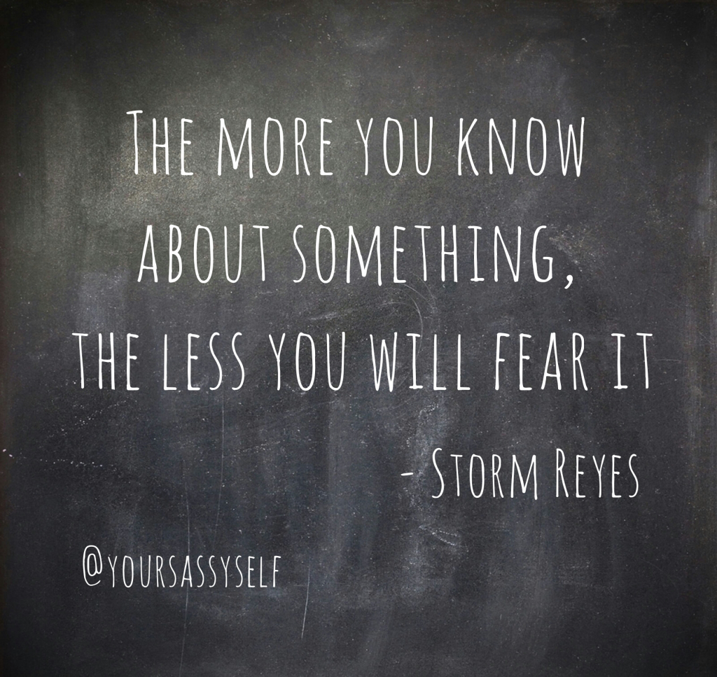 The more you know the less you fear it - Storm Reyes quote - yoursassyself.com
