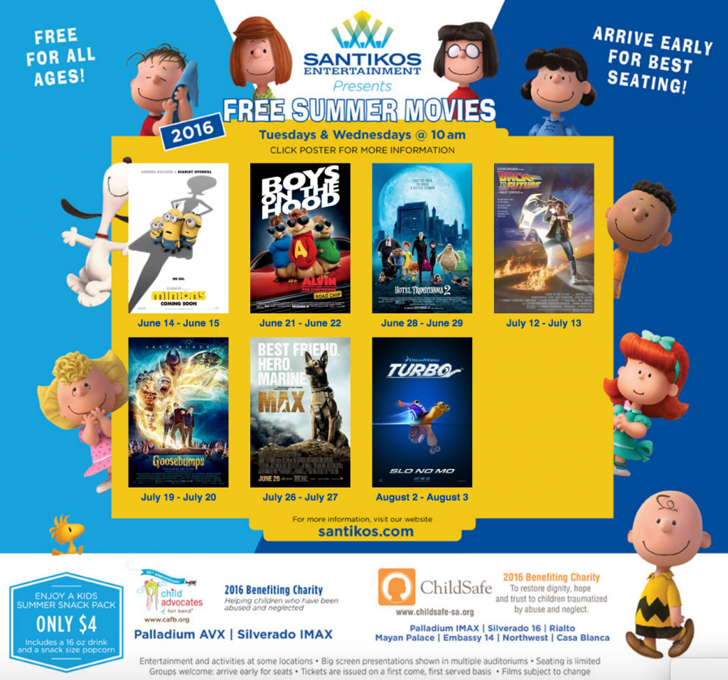 Santikos 2016 Free Summer Movies - yoursassyself.com