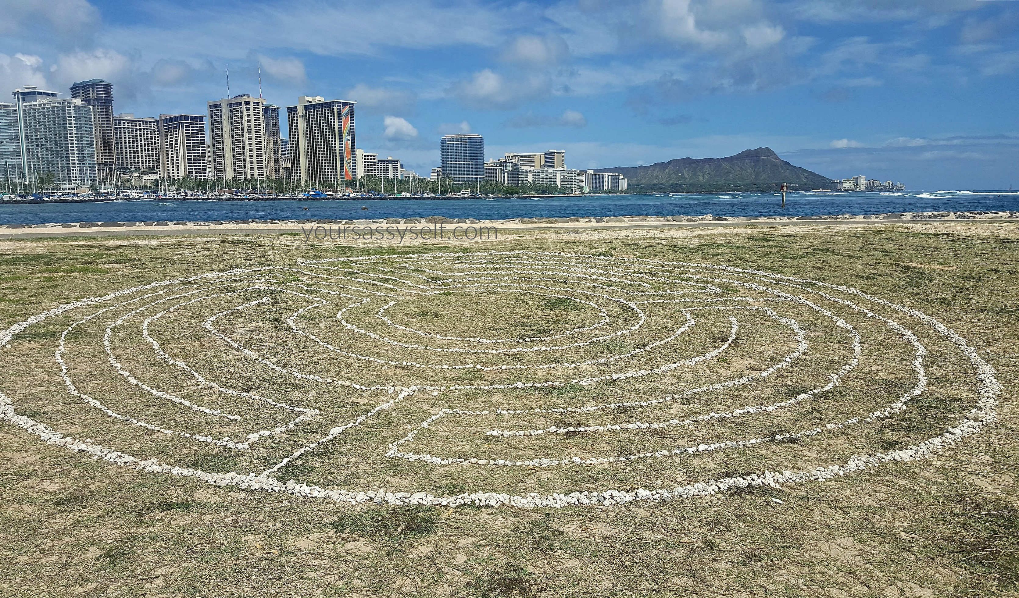 Magic Island Labyrinth with Waikiki Backdrop - yoursassyself.com