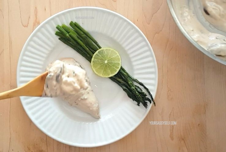 Plated Cream Chicken with Asparagus - yoursassyself.com