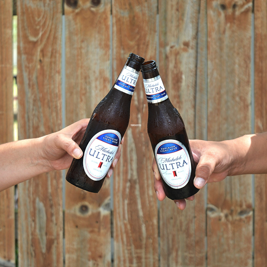 Toasting with an ice cold Michelob ULTRA - yoursassyself.com