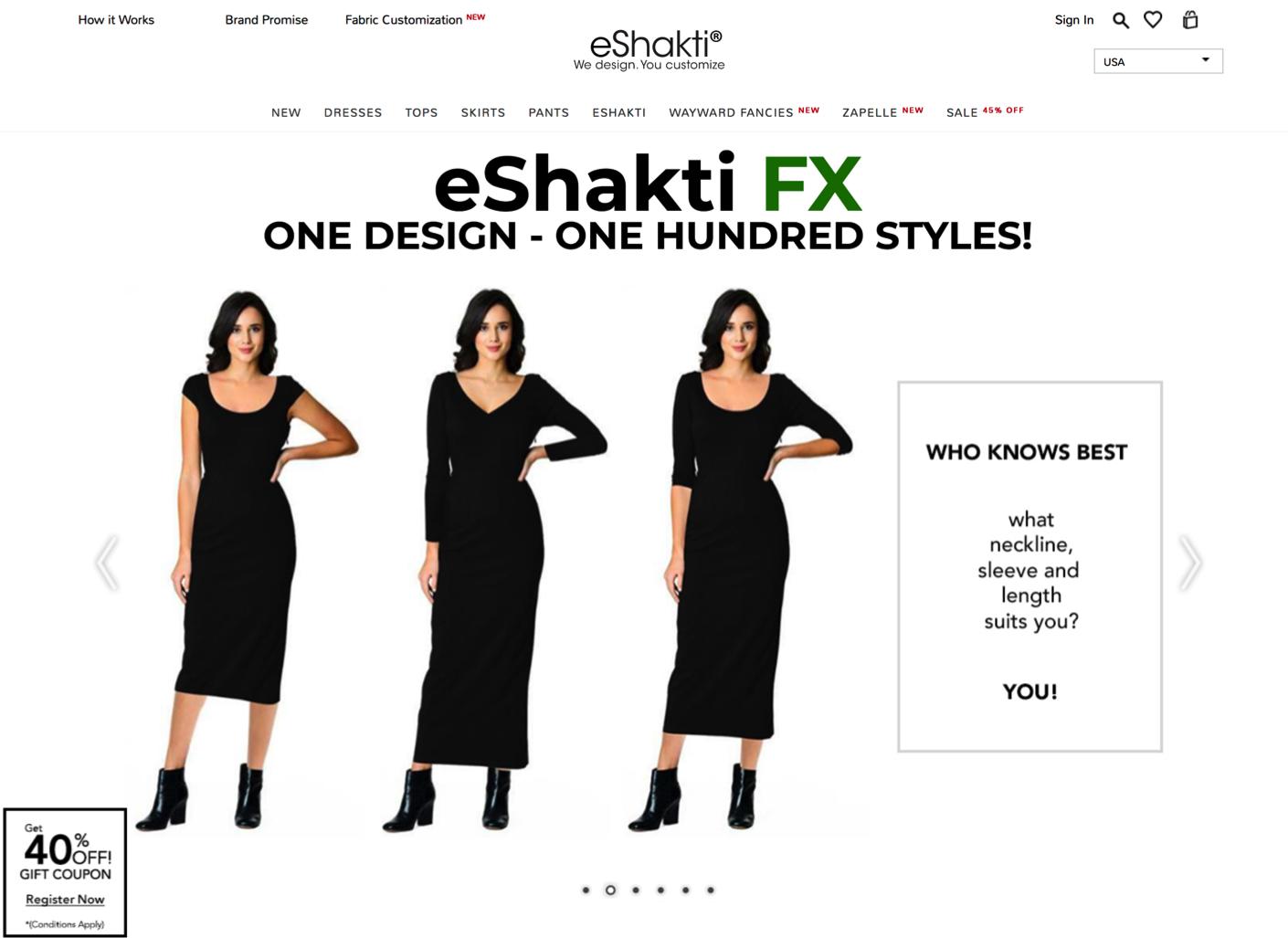 eShakti.com landing page - yoursassyself.com