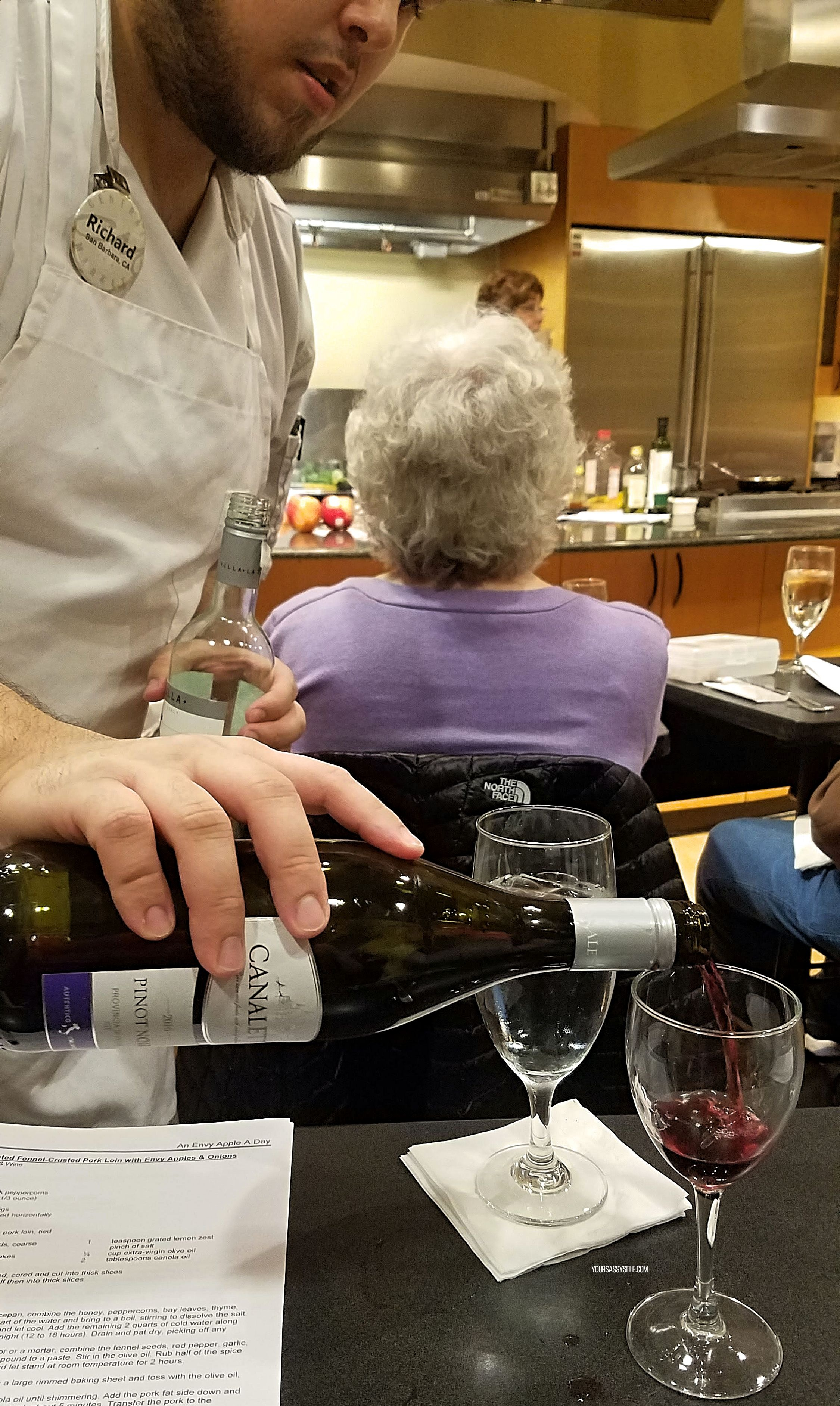 Pouring Canaletto 2016 Pinot Noir - yoursassyself.com