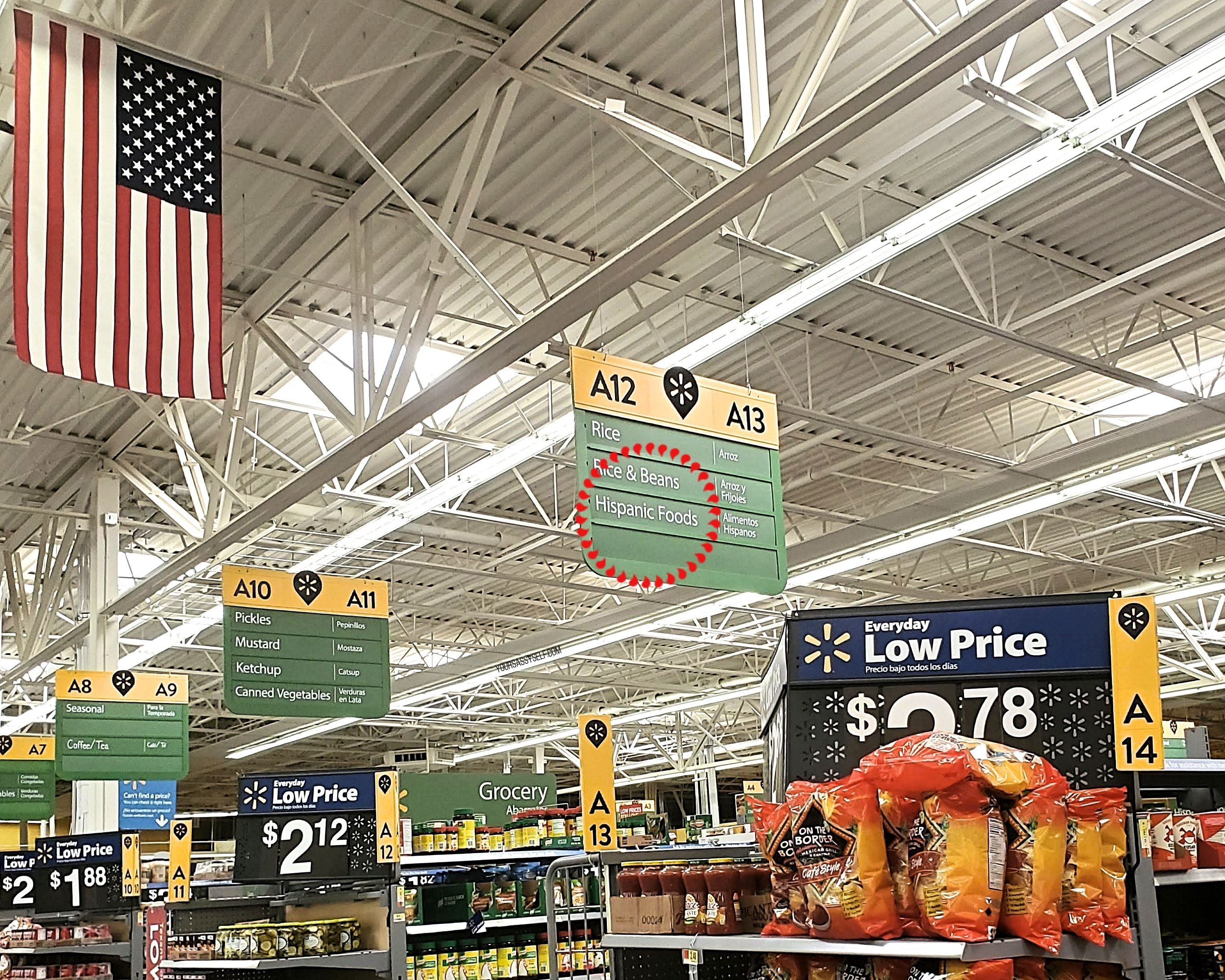 Hispanic Foods aisle at Walmart - yoursassyself.com