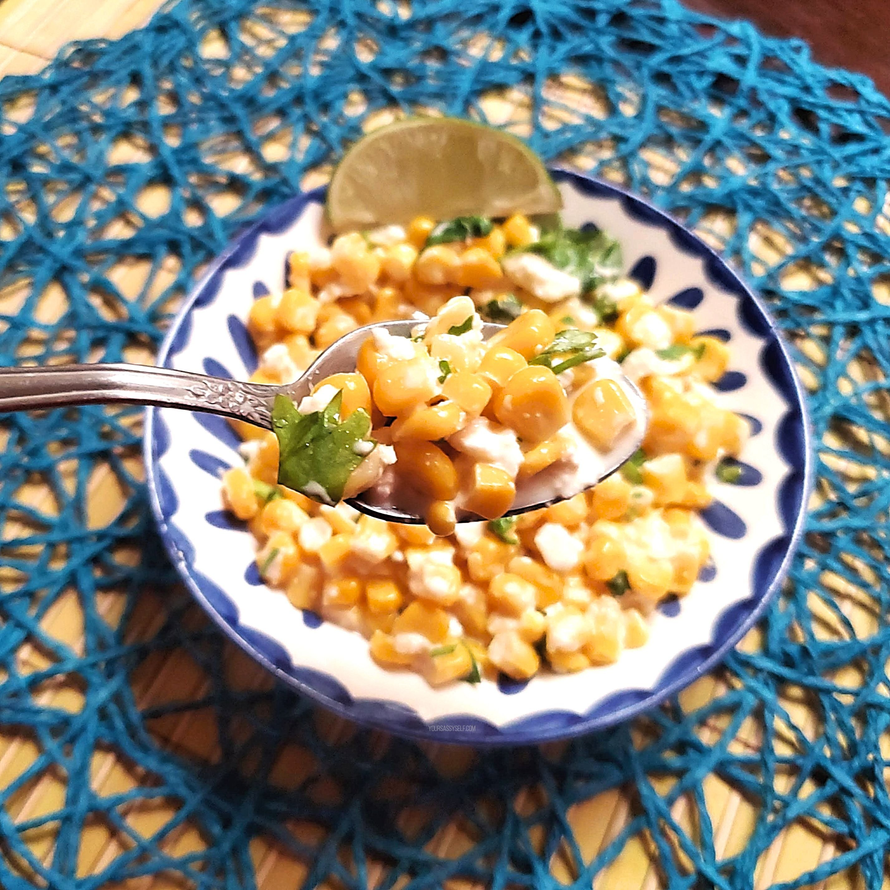 Spoonful of Mexican Street Corn - yoursassyself.com