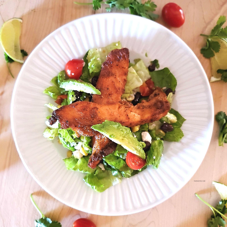 Plated Blackened Chicken Fiesta Salad - yoursassyself.com